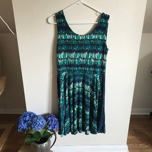 Swing Dress with Aqua Pattern